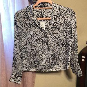 Black leopard blouse